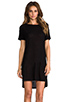 Image 1 of T by Alexander Wang Classic Pilly Boatneck Dress in Black