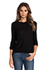 Image 1 of T by Alexander Wang Slub Classic Long Sleeve Tee in Black