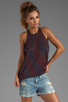 Image 1 of T by Alexander Wang Linen Stripe Tank in Ink/Iodine