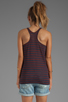 Image 2 of T by Alexander Wang Linen Stripe Tank in Ink/Iodine