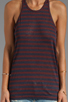 Image 3 of T by Alexander Wang Linen Stripe Tank in Ink/Iodine