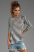 Image 1 of T by Alexander Wang Linen Stripe Long Sleeve Tee in Ink/Ivory