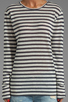 Image 3 of T by Alexander Wang Linen Stripe Long Sleeve Tee in Ink/Ivory