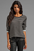 Image 1 of T by Alexander Wang Stripe Knit Long Sleeve Top in Black/White