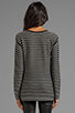 Image 2 of T by Alexander Wang Stripe Knit Long Sleeve Top in Black/White