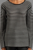 Image 3 of T by Alexander Wang Stripe Knit Long Sleeve Top in Black/White