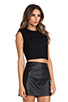 Image 2 of T by Alexander Wang Bonded Wool Neoprene Cropped Shell in Black