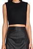 Image 4 of T by Alexander Wang Bonded Wool Neoprene Cropped Shell in Black