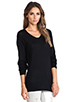 Image 2 of T by Alexander Wang Jersey Roll Low Neck Long Sleeve Knit in Black