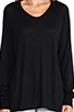 Image 4 of T by Alexander Wang Jersey Roll Low Neck Long Sleeve Knit in Black