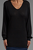 Image 5 of T by Alexander Wang Jersey Roll Low Neck Long Sleeve Knit in Black