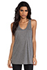 Image 1 of T by Alexander Wang Classic Tank Pocket in Heather Grey