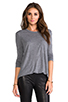 Image 1 of T by Alexander Wang Classic Long Sleeve Pocket in Heather Grey