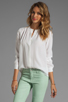 Image 1 of Theory Saleya Latavia Silk Crepe Blouse in White