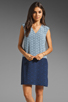 Image 1 of Tibi Kaleidoscope V-Neck Dress in Powder Blue/Navy Combo