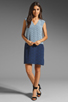 Image 2 of Tibi Kaleidoscope V-Neck Dress in Powder Blue/Navy Combo