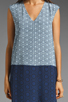 Image 3 of Tibi Kaleidoscope V-Neck Dress in Powder Blue/Navy Combo