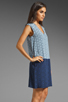 Image 4 of Tibi Kaleidoscope V-Neck Dress in Powder Blue/Navy Combo