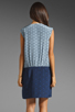 Image 5 of Tibi Kaleidoscope V-Neck Dress in Powder Blue/Navy Combo