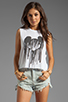 Image 1 of The Laundry Room Mickey Drip Crop Muscle Tee in White