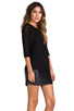 Image 3 of Tylie Leather Hem Knit Dress in Black