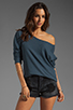 Image 1 of Tylie Double Face Off The Shoulder Raglan Sweater in Danish Blue