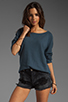 Image 2 of Tylie Double Face Off The Shoulder Raglan Sweater in Danish Blue