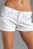 Image 4 of True Religion Jayde Boyfriend Shorts in Optic White