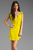 Image 1 of Twelfth Street By Cynthia Vincent Ashka Draw String Shift Dress in Citron with Grey Back