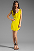 Image 2 of Twelfth Street By Cynthia Vincent Ashka Draw String Shift Dress in Citron with Grey Back