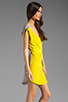 Image 3 of Twelfth Street By Cynthia Vincent Ashka Draw String Shift Dress in Citron with Grey Back