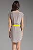 Image 4 of Twelfth Street By Cynthia Vincent Ashka Draw String Shift Dress in Citron with Grey Back