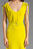 Image 5 of Twelfth Street By Cynthia Vincent Ashka Draw String Shift Dress in Citron with Grey Back