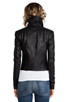 Image 4 of VEDA Max Classic Crispy Leather Jacket in Black