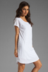 Image 3 of Velvet by Graham & Spencer Dasha Sheer Jersey T Shirt Dress in White