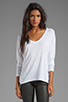 Image 1 of Velvet by Graham & Spencer Gala Lux Slub Long Sleeve V-Neck in White