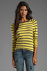 Image 1 of Velvet by Graham & Spencer Verna Charcoal Slub Stripe Long Sleeve in Sunbeam