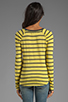 Image 2 of Velvet by Graham & Spencer Verna Charcoal Slub Stripe Long Sleeve in Sunbeam