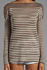 Image 3 of Vince 100% Linen Breton Striped Boatneck in Earth and Sailcloth