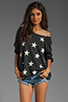Image 1 of Wildfox Couture Jazzercise Stars Off the Shoulder Sweatshirt in Clean Black