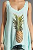 Image 3 of Wildfox Couture Pineapple Dreamer Tank in Bleached Aqua