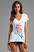 Image 1 of Wildfox Couture Bright Wing Bird Classic V-Neck Tee in Clean White