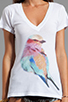 Image 3 of Wildfox Couture Bright Wing Bird Classic V-Neck Tee in Clean White