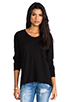 Image 1 of Wilt Slub Jersey Slouchy BF Long Sleeve in Black