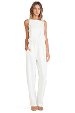Plink Jumpsuit with Brown Piping in Winter White