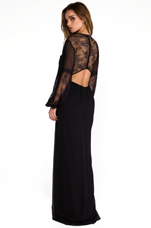 Saori Blouson Sleeve Maxi Dress in Black
