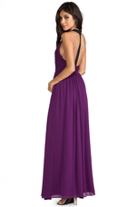 Runie Ruched Bodice Leather T-Back Maxi Dress in Electric Plum