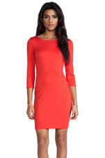 Selby 3/4 Sleeve Cutout Back Dress in Poppy