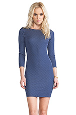 Kal Open Back Fitted Long Sleeve Dress in Navy