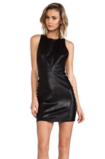 Layne Fitted Leather T Back Dress in Black